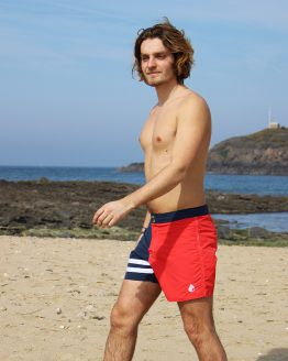 Short de bain homme bi-color marine rouge